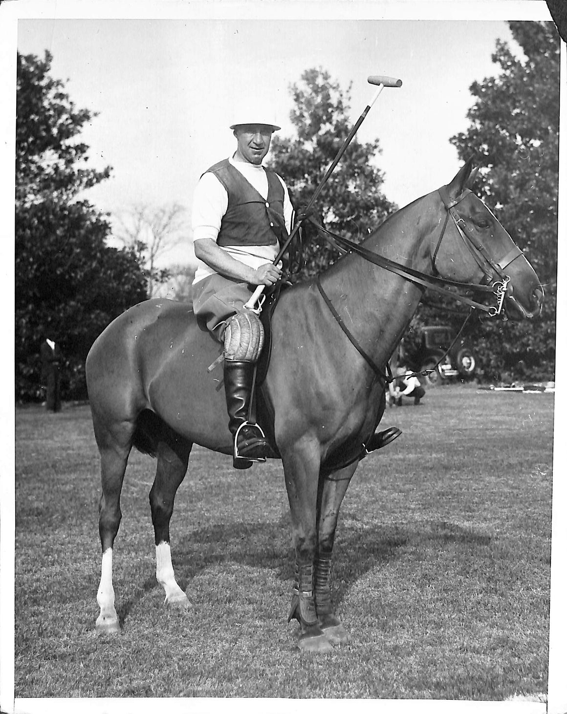 Devereux Milburn Plays at Aiken 1932 B&W Photo