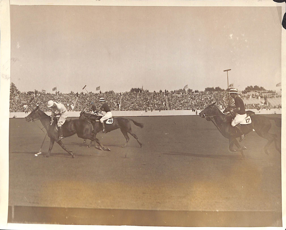 'Tommy Hitchcock Leading The Way To Another American Goal at Meadow Brook' 1927 B&W Photo