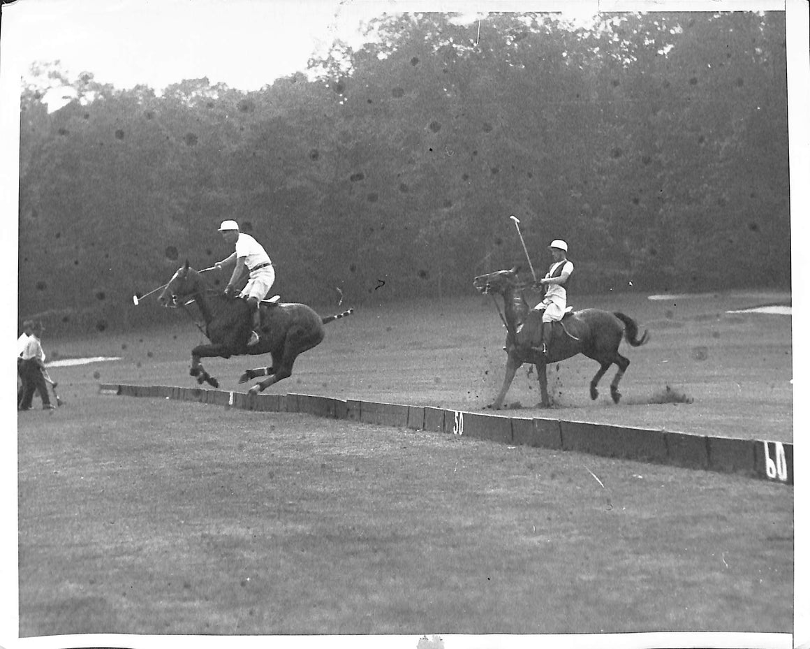 'Tommy Hitchcock Clears The Hurdle at Piping Rock Club' 1930 B&W Photo