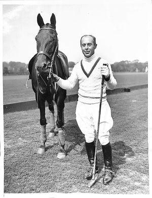 Seymour H. Knox Polo Player in The National Open Polo Championship at Bostwick Field 1935 B&W Photo