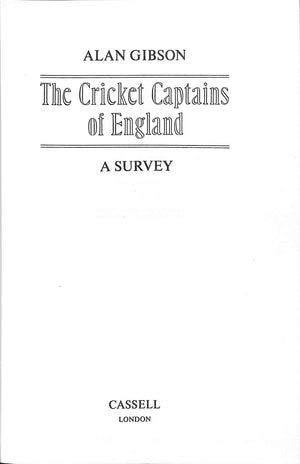 The Cricket Captains of England