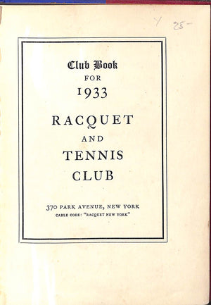 """Racquet & Tennis Club"" 1933"
