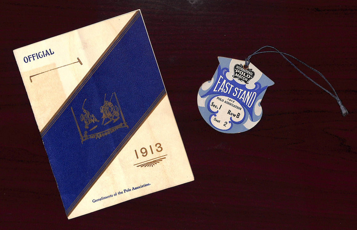 Polo Association: Official 1913 Meadow Brook Club Programme & Lapel Badge (Sold!)
