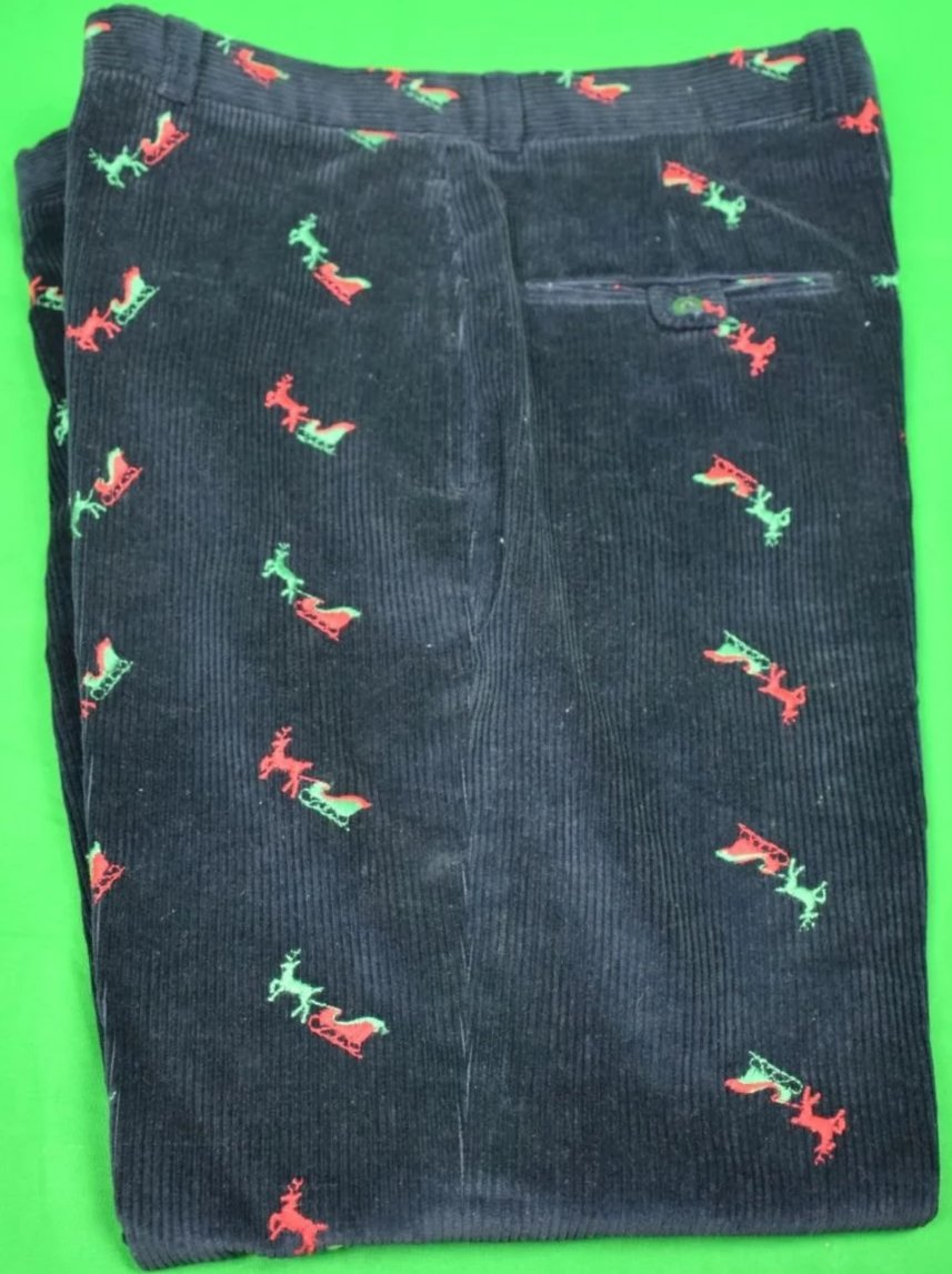 Chipp Navy Corduroy w/ Green Reindeer & Red Sleigh