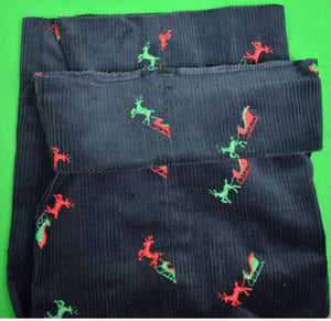 "Chipp Navy Corduroy w/ Green Reindeer & Red Sleigh Sz: 36""W"