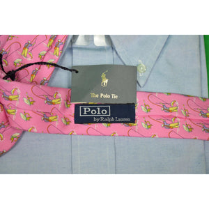 Polo by Ralph Lauren Pink Italian Silk w/ Fly Fisherman & Flies Pattern