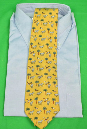 Brooks Brothers Zebra/ Palm Tree Yellow Silk Tie