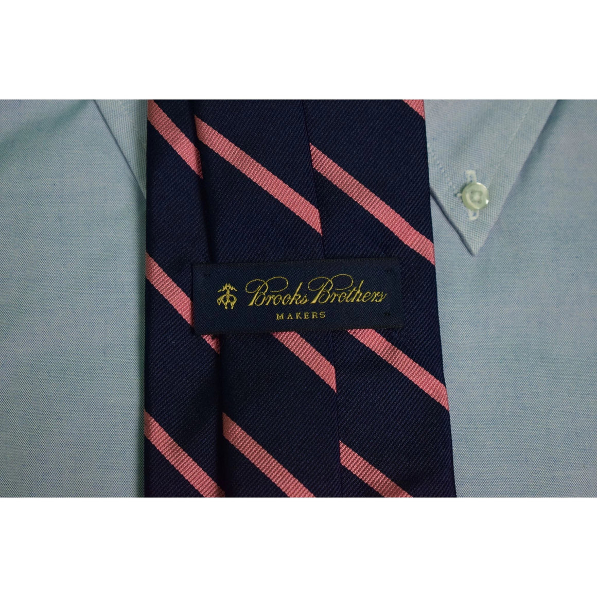 Brooks Brothers English Silk Repp Pink Stripe Navy Tie