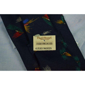 Paul Stuart Navy Wool Challis w/ Trout Flies Pattern Tie