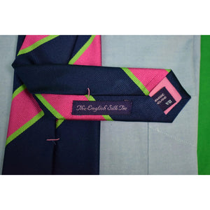 Seaward & Stearn English Silk Repp Stripe Lime/ Pink/ Navy Tie