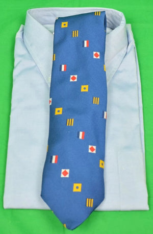 Chipp Royal Blue Poly Tie w/ Signal Flags