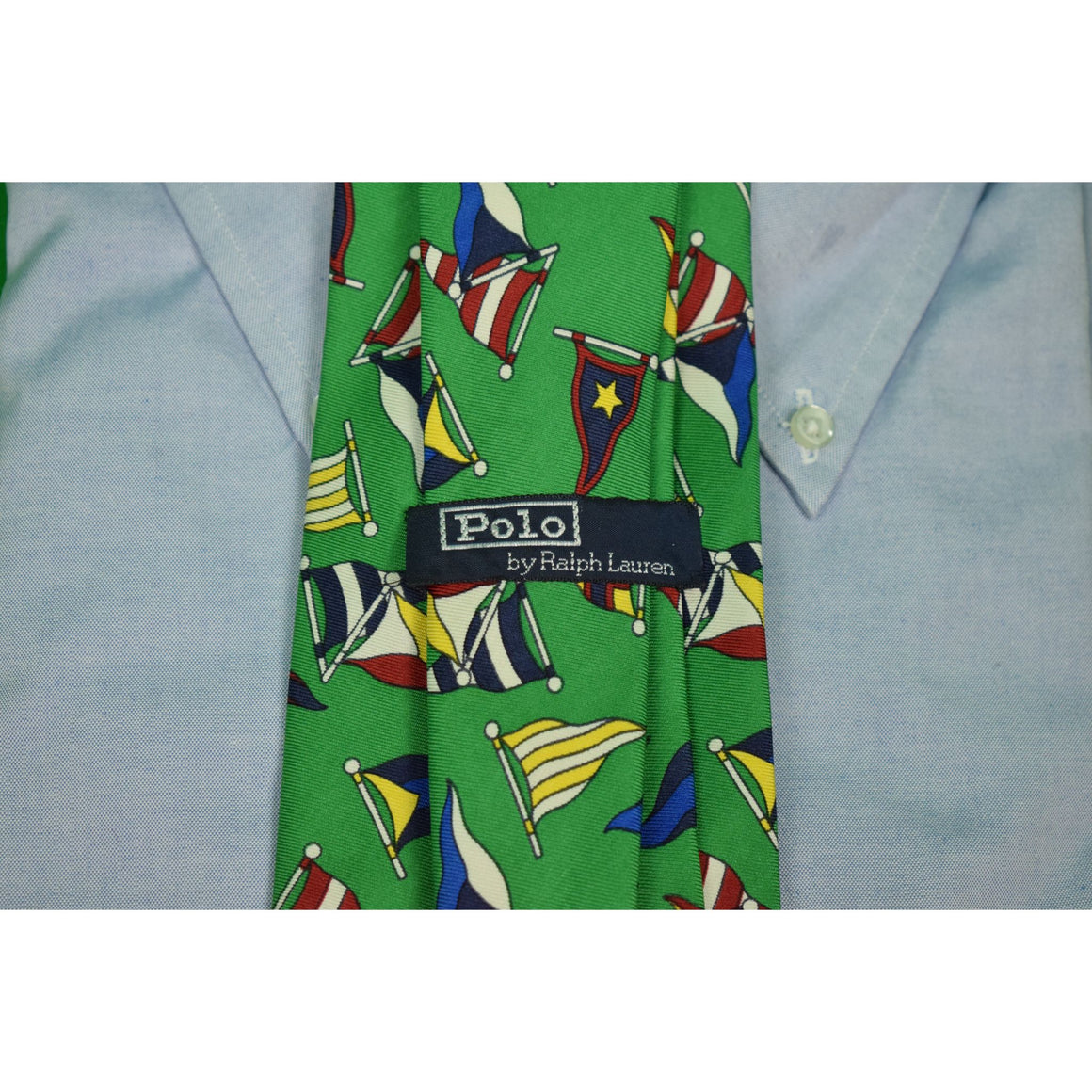 Polo by Ralph Lauren Green Silk Burgee Flags Nautical Tie