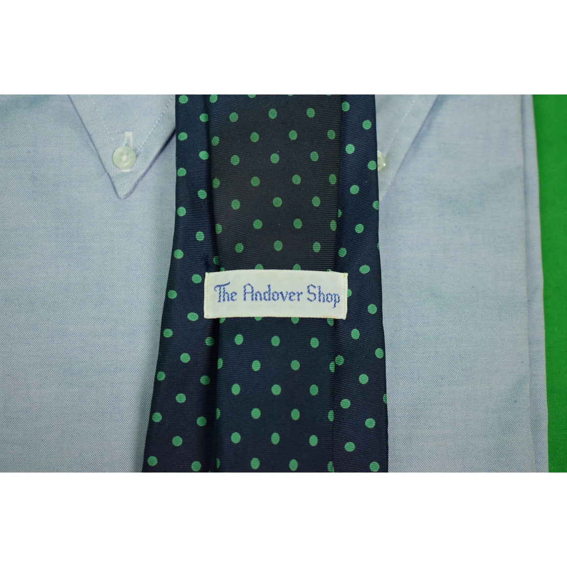 The Andover Shop English Silk Green Polka Dot/ Navy Ground Tie