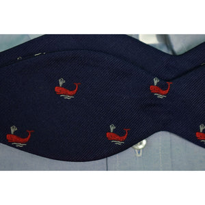 The Andover Shop English Silk Twill Red Whales on Navy Ground