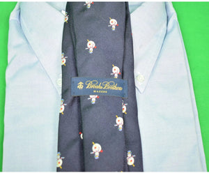 "Brooks Brothers ""Frosty The Snowman"" Navy Silk Club Tie"