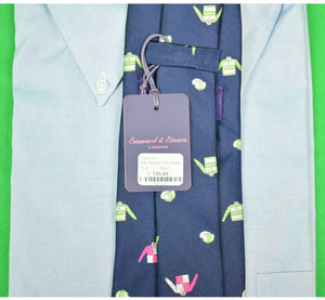 O'Connell's Seaward & Stearn London Woven Navy Silk w/ Pink & Green Jockeys Tie