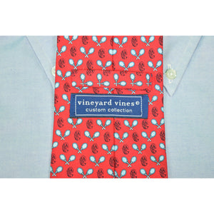 Vineyard Vines Custom for The Piping Rock Club Red X'd Tennis Rackets Silk Tie