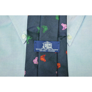 "J. Press Navy Silk Tie w/ ""Frogs"""