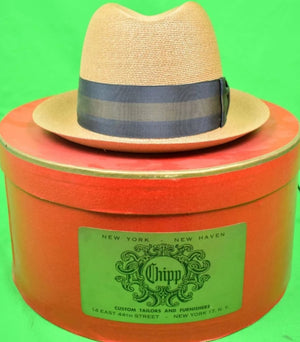 "Chipp ""Fleet Street"" Panama Hat w/ Grosgrain Stripe Ribbon Band Sx 7"