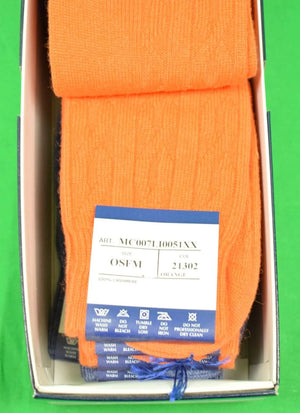 Box of 6 The Andover Shop Italian Cashmere Orange/ Slate Mid-Length Hosiery