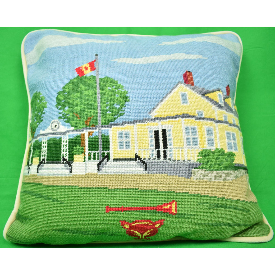 Myopia Hunt Club Petit-Needlepoint Clubhouse Pillow (Sold!)