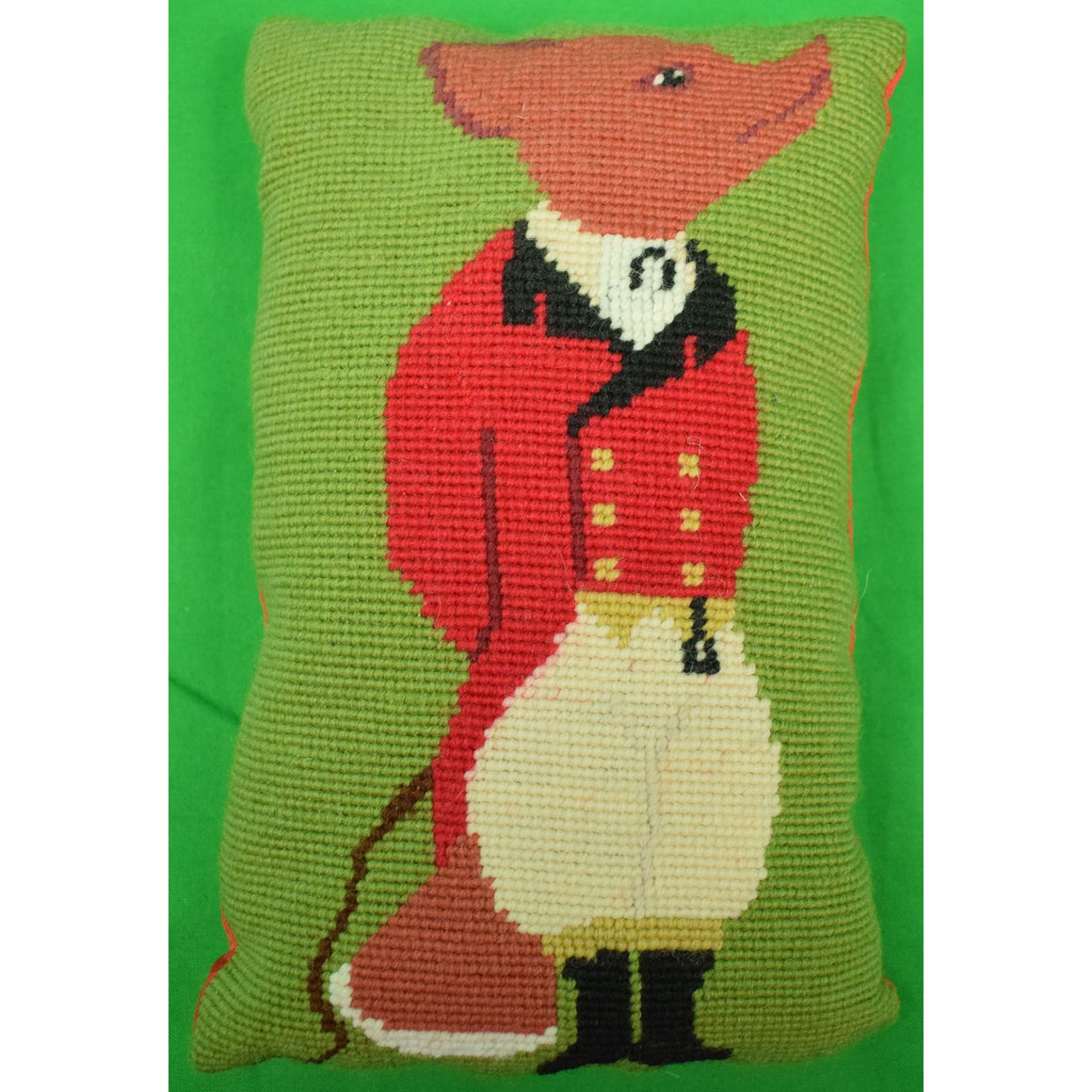 Fox-Hunter Needlepoint Pillow