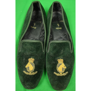Polo Ralph Lauren Bottle Green Velvet Slippers w/ Embroidered Gilt Horse Head Sz 9