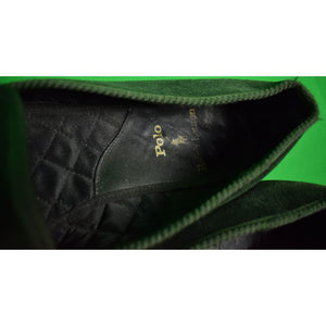 Polo Ralph Lauren Bottle Green Velvet Slippers w/ Emb Gilt Horse Head Sz: 9