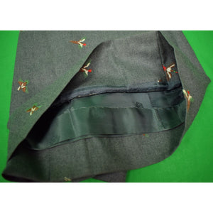 The Andover Shop Women's Grey Flannel Skirt w/ Embroidered Game Birds