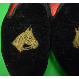 Dunhill Tailors English Black Velvet Slippers w/ Gilt Horse Head Embroidery Sz: 10D