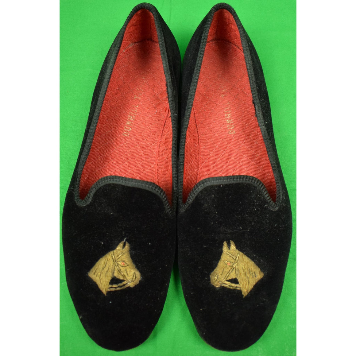 Dunhill Tailors Black Velvet English Slippers w/ Gilt Horse Head Bullion Embroidery Sz: 10D