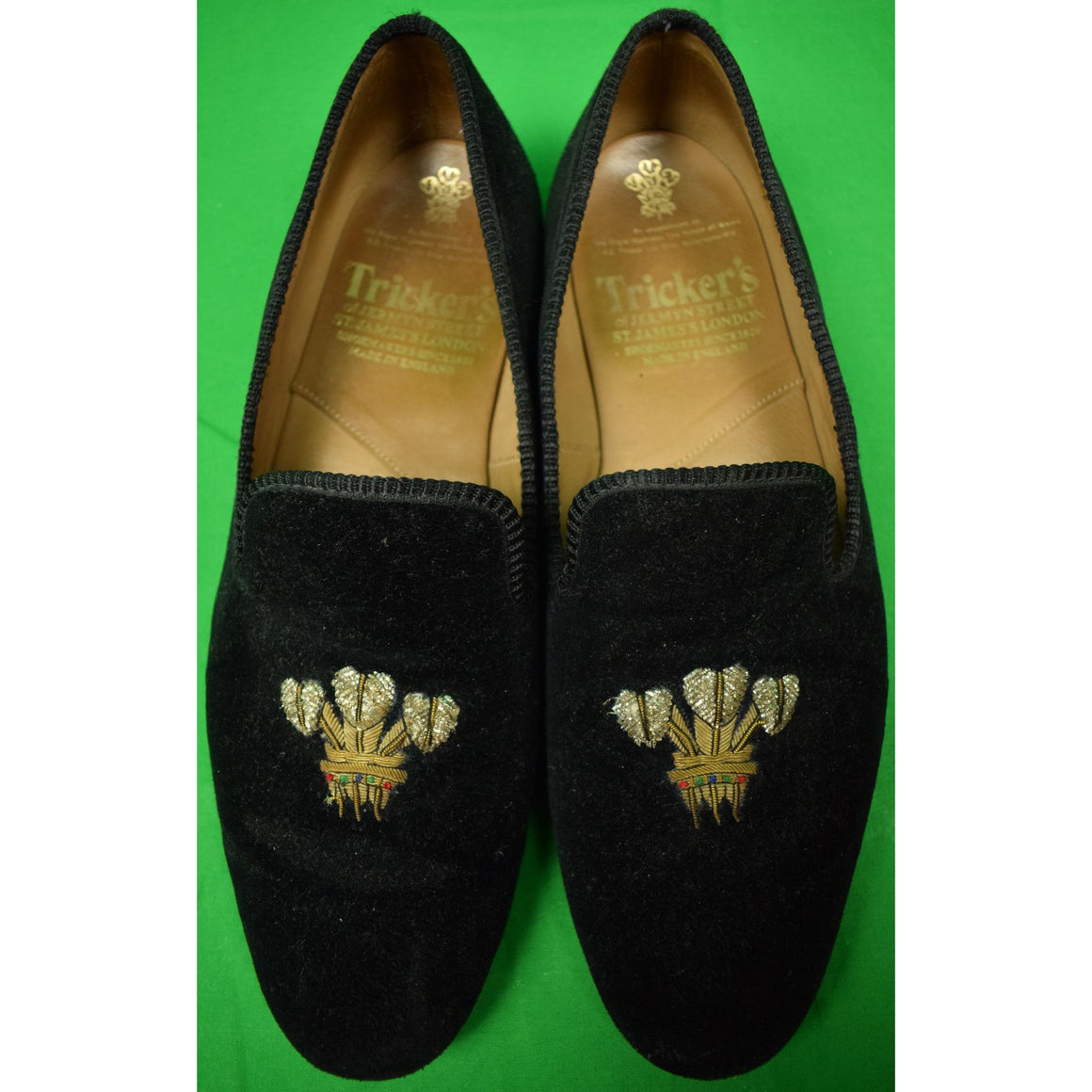Tricker's of Jermyn Street Black Velvet 3 Plumes Embroidered Slippers Sz 11