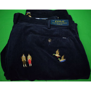 Polo Ralph Lauren Navy Corduroy w/ Embroidered Huntsmen/ Ducks & X'd Guns Classic    Fit