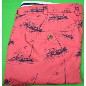 Brooks Brothers Nantucket Red Popin Trousers w/ Paul Brown Yachting Print