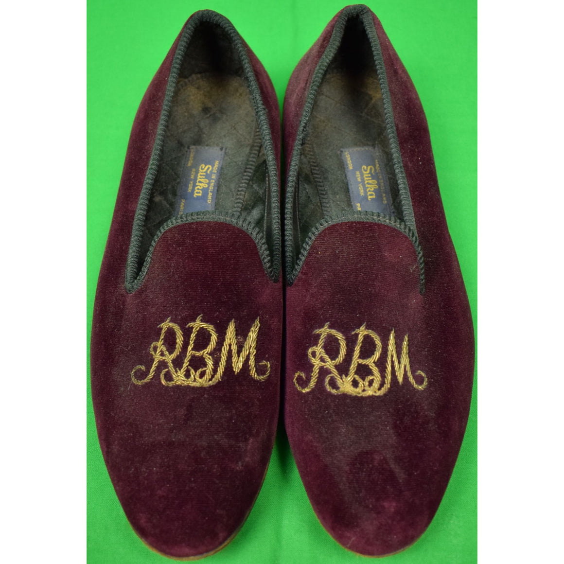 Sulka Claret Velvet English Slippers w/ 'RBM' Monogram Sz: 11