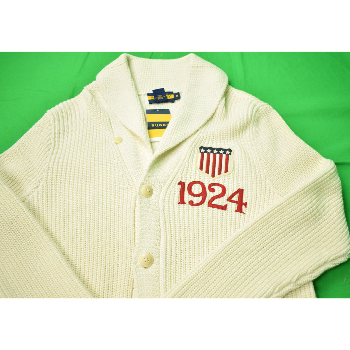 Rugby Ralph Lauren Cardigan w/ 1924 Olympic Crest Sweater Sz M