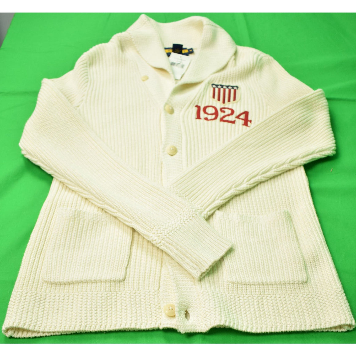 Ralph Lauren Rugby Cardigan w/ 1924 Olympic Crest Sweater Sz M
