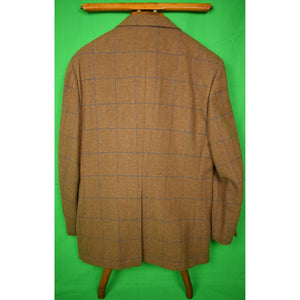 The Andover Shop Blue Windowpane Cocoa Tweed Jacket Sz 41R