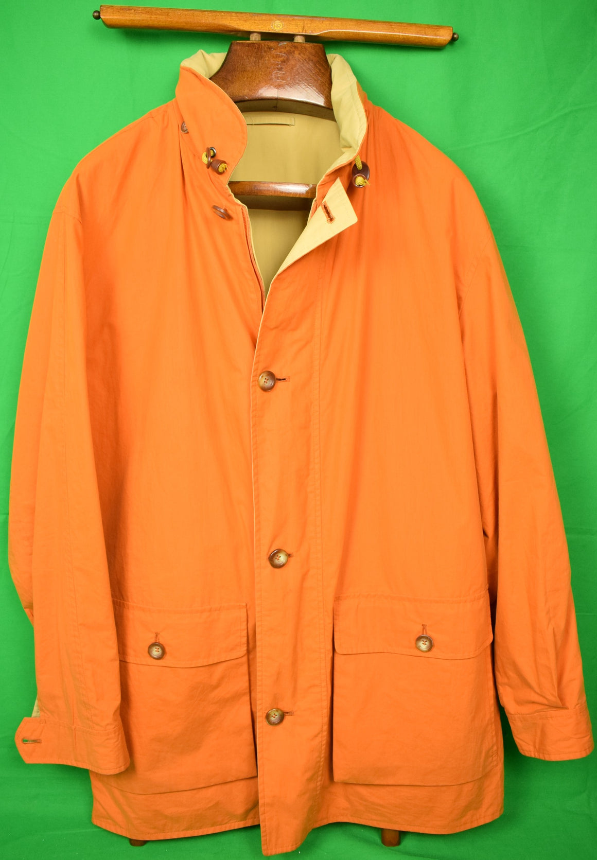 Paul Stuart Reversable Orange/ Tan Italian Sueded Cotton Jacket Sz 42R