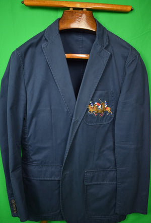 Polo Ralph Lauren Navy Cotton Blazer w/ 3 Emb Polo Players on Breast Pocket Sz: XL