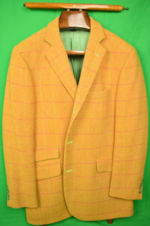 The Andover Shop Custom Orange w/ Green Windowpane Tweed Jacket Sz 46L