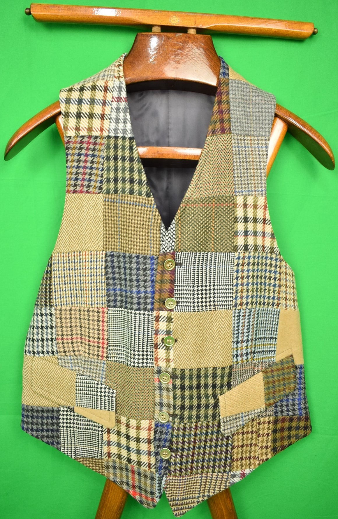 The Andover Shop c1991 Patch Cashmere Tweed Waistcoat Sz 38R