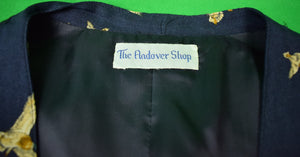The Andover Shop Navy Challis Ducks-In-Flight Motif Waistcoat Sz 38R
