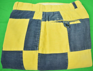 "Chipp Patch Panel Yellow/ Navy Pinwale Corduroy Trousers Sz: 38""W"