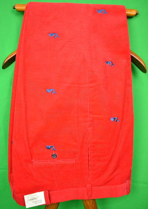"O'Connell's Blue Whale Embroidered Red Corduroy Trousers Sz 40""W New w/ Tag!"