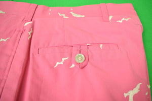 "Chipp Shell Pink Poplin 'Seagull' Embroidered GT Trousers Sz 33""W"