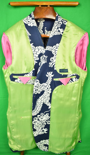 Lilly Pulitzer Navy Cotton Blazer w/ Chinese Dragon Lantern Motif Sz 46L