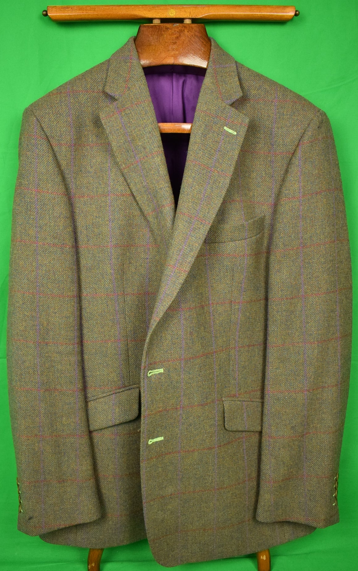 Magee of Ireland Olive Tweed w/ Purple Windowpane Jacket Sz: 46L