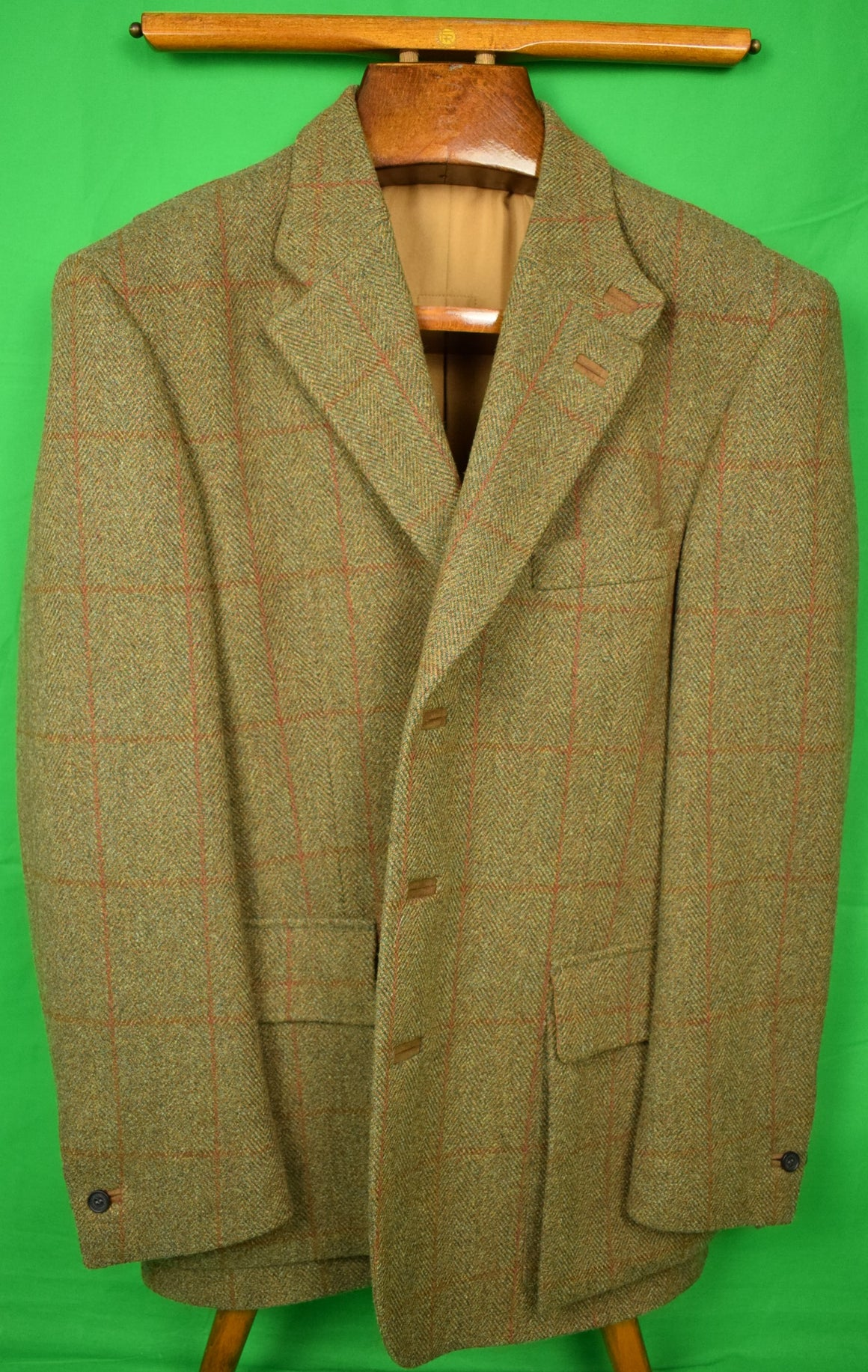 Holland & Holland Windowpane/ Herringbone Tweed Shooting Jacket Sz: 42R New w/ Tags!