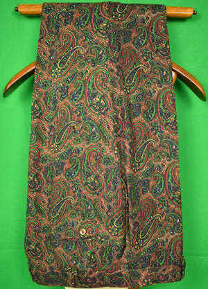 "Chipp Plum/ Green Paisley Challis Trousers Sz: 39"" W"